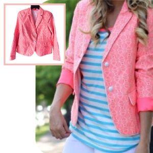GAP Sz 8 Hot Pink Academy Blazer Geometric Print